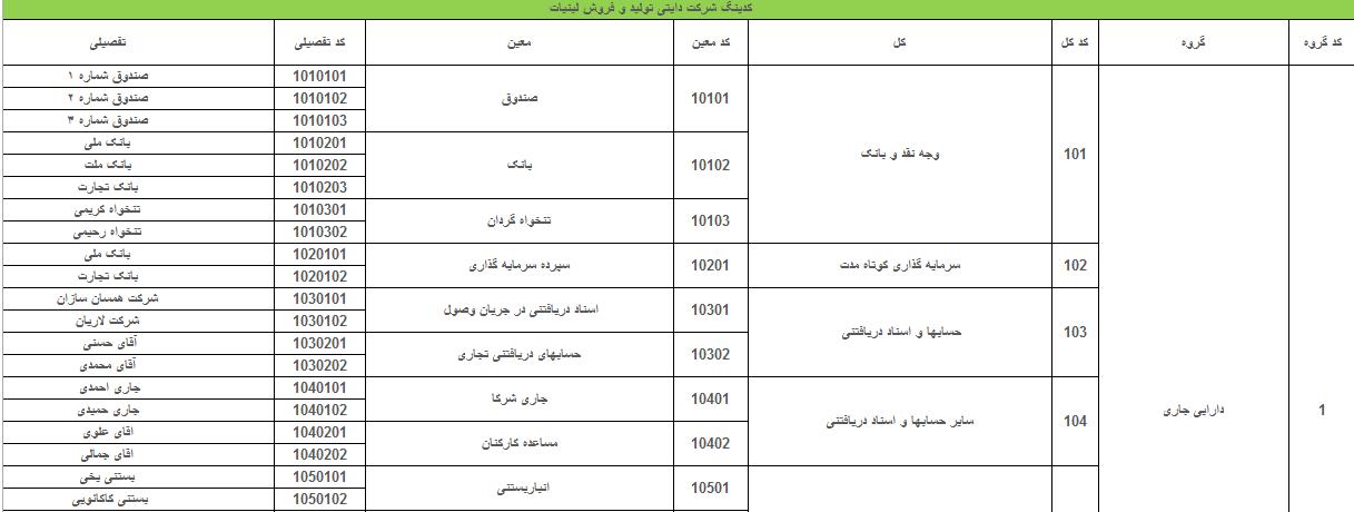 پروژه مالی سیستم حسابداری در شرکت بازرگانی دایتی