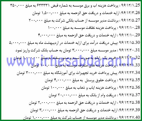 برخی از رویداد های پروژه مالی ۷۰ ثبت حسابداری در فایل اکسل