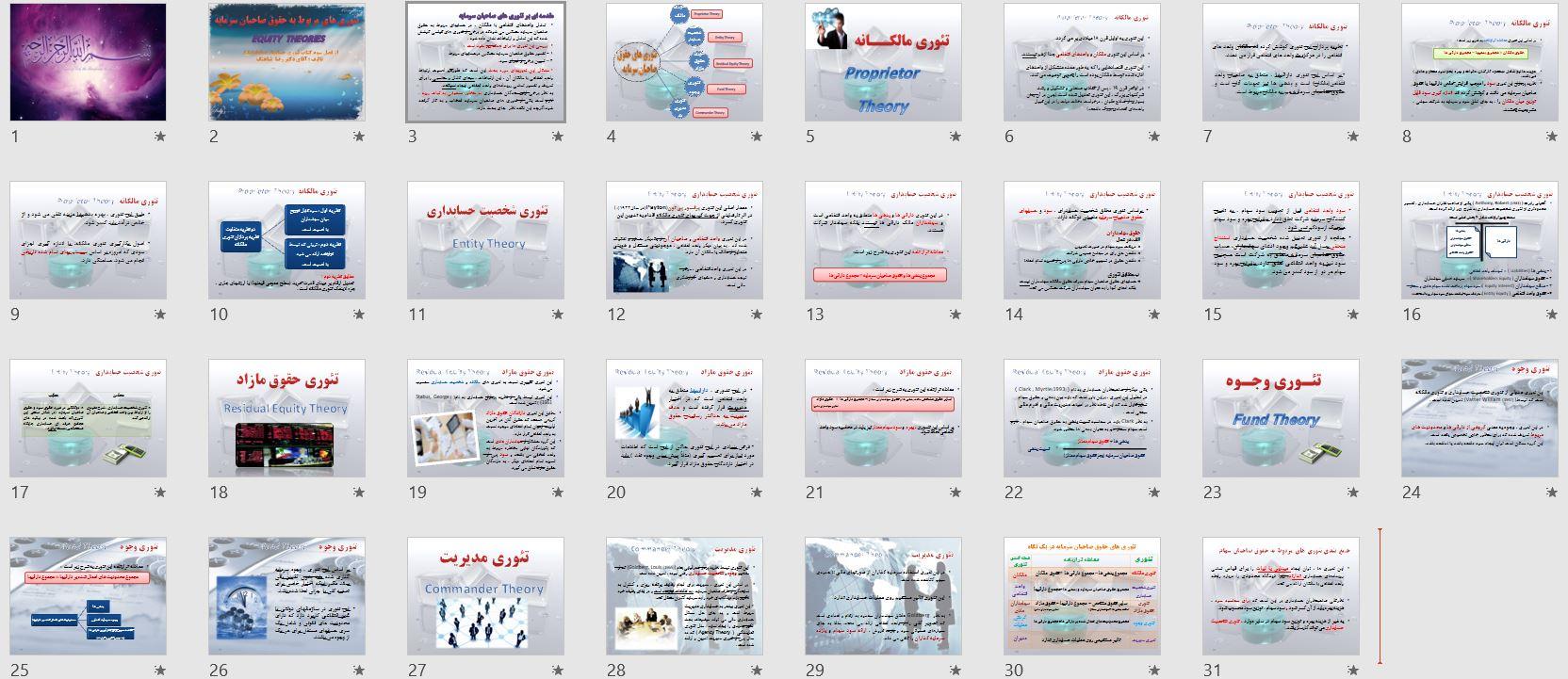تصویر اسلاید های پاورپوینت تئوری های حقوق صاحبان سرمایه